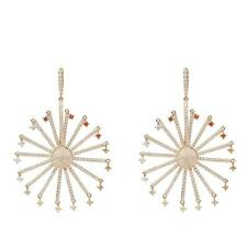 Earrings Large Rose Gold Cz Gift Latelita Designer 925 Silver Round Ferris Wheel