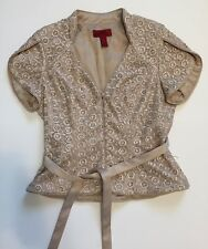 J. S. Collections 6 Formal Evening Jacket Tan Beaded Lace Butterfly Sleeves Vtg