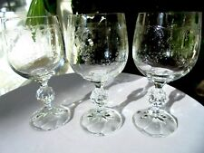 Set of 3 Import Assoc Bohemian Crystal Cascade Pattern Wine Goblets