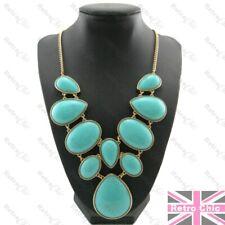 BIG AQUA BIB NECKLACE quality ex store STATEMENT aqua large gold blue green turq