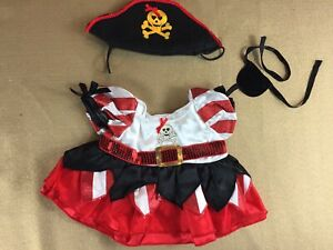 BAB Build A Bear Pirate Outfit Costume Hat Puffy Dress Patch Gold Skull Exc