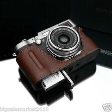 GARIZ FUJI X100T Grip Type Half Case + Gun-Shot Strap Brown For X100T X100S X100