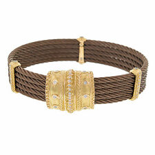 Charriol Celtique 5 Row Nautica Cable 18K Petra Gold Diamond Bronze Bracelet