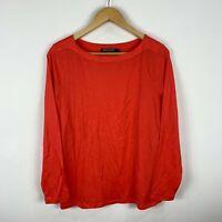 Sportscraft Merino Wool Top Size Large Orange/Red Long Sleeve Boat Neck