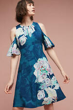 ANTHROPOLOGIE Maeve NWT Elia Open-Shoulder Dress Floral Turquoise Sz 2 XS $228