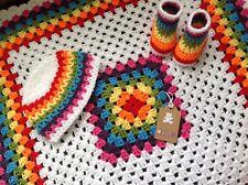 Hand crochet baby blanket/car seat/pram/crib rainbow boy girl Christmas set