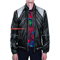 Michael Jackson Costume Beat It Metal Zipper Leather Jacket - Black