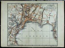 LUGANO, alter farbiger Stadtplan, datiert 1901