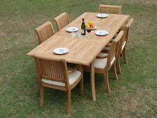 """DSGV Grade-A Teak 7 pc Dining 94"""" Rectangle Table Arm Chair Set Outdoor New"""