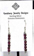 Sterling Silver Garnet Bead Gemstone Long Dangle Earrings #4144.Handmade Usa