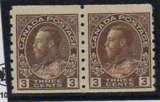 Canada Sc 129 1918 3 c brown G V Admiral coil pair mint Free Shipping