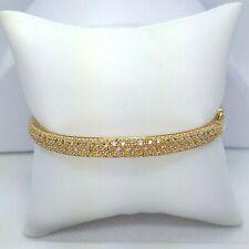 14K Yellow Gold & Pave' Diamond Bangle Bracelet