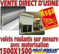 VOLET ROULANT ELECTRIQUE LAMES PVC H1500XL1500 (moteur, motorisation, motorisé)