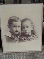 "Antique Photo - 10"" x 12"" - Cute Little Boy W/Scarf & Sister - JOHN & BESS"