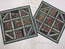 2 Green Decorative Pillowcases Bed Throw Toss Handmade Furniture Cushion Covers