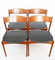 4 chaises scandinaves ERIK BUCH   en teck  année 50 60 design vintage XXe