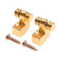 Set of 2 Pcs Roller Style String Retainer Trees Guitar Parts Gold