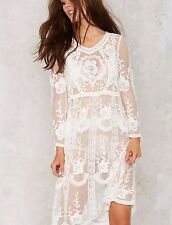 New NASTY GAL All Lace Sheer Bohemian Beach Wedding Party Crochet Gown Dress S
