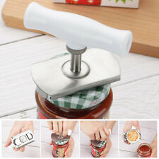 HEAVY-DUTY JAR OPENER STAINLESS STEEL LID CAN CAP REMOVER EASY GRIP WHITE HOLDER