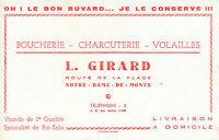 Buvard Vintage Boucherie Charcuterie L. Girard Notre Dame de Monts