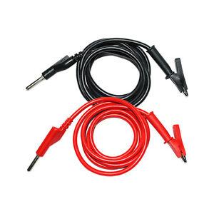 2x Banana Plug to Crocodile Alligator A-B Clip Test Probe Lead Copper Wire Cable