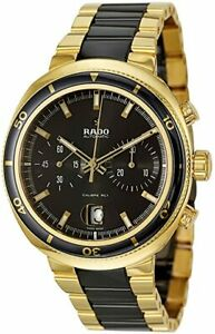 Rado D Star Chronograph Automatic Yellow Gold PVD and Black Ceramic Mens Watch