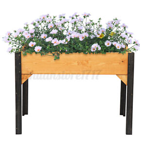 Garden Patio Wooden Planter Flower Vegetable Herbs Raise Bed Soil Raised Box