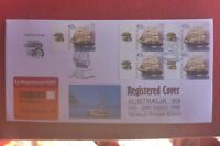 AUST 99 o'print REGISTERED LABEL BLOCK  4 POLLYWOODSIDE TAB STAMPS PRIVATE FDC