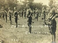 Real Photo Postcard RPPC Co.I~6th Training Regiment ~ Army Soldiers Calisthenics