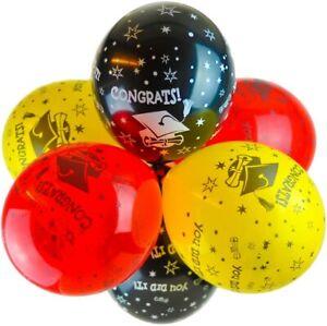 "10x 12"" Black/Red/Yellow Congrats Latex Balloons Graduation Decorations"