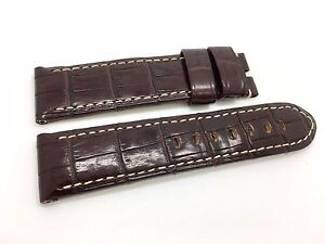 Brand New Panerai Burgundy Leather Cocrodile Style Band Strap 24/22mm