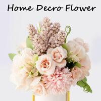 Bouquet Flowers Artificial Fake Leaf Silk Buch Garlands Wedding Party Home Decor