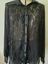 Green Envelope Black Lace Blouse Small S