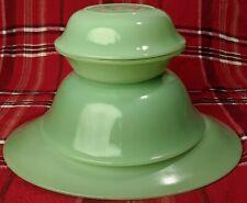 """Vintage Fire King Jane Ray Jadeite 12"""" Oval Platter 8"""" Serving Bowl & 2 6"""" Bowls"""