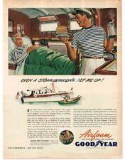 1945 Goodyear Airfoam Matresses Yacht Yachting  art Vtg. Print Ad