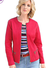 Collection L @ Kaleidoscope Size 10 Red Denim JACKET Spring Zip Trim Holiday £72