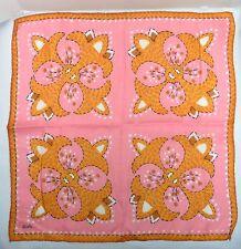 Vtg Shelly Designer Linen Hankie 14� Square Hand Rolled Pink Orange Floral