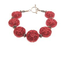Chinese Cinnabar Lacquer Floral Round Bead Toggle Bracelet