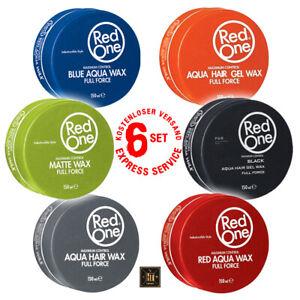 6x Spar Set RedOne Gel Aqua Hair Wax Full Force 150ml Wachs Haarwachs