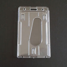 2X Vertical Transparent Hard Plastic ID Badge Holder Double Card Case E7CX