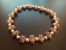 "Vintage Silver Tone Owl Beaded Bracelet 2-3"" Diameter"