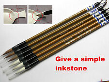 6Pc Weasel Hair Chinese  Calligraphy  White and Brown Brush Pen With a Inkstone