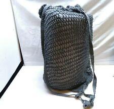 Handmade Crochet String Nylon Drawstring Pouch Boho Backpack Bag Purse Gray
