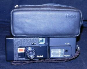 ROLLEI A26 CAMERA AND C26 FLASH WITH CASE, 126 FILM, VG UNTESTED COND