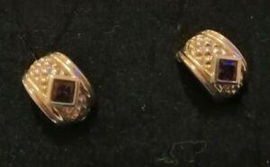 Sterling silver and amethyst half hoop earrings