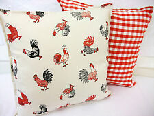 2 NEW CUSHION COVERS IN COCKEREL RED CHICKENS AND LAURA ASHLEY GINGHAM CHECK RED