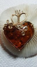 Large bown  Baltic Amber Heart  Pendant, wire wrapped in 14 k gold filled wire