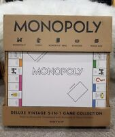 Monopoly Deluxe Vintage 5-IN-1 Game Collection Features Reversible Game Board