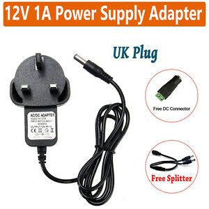 12V 1A  AC/DC UK Power Supply Adapter Safety Charger For LED Strip CCTV Camera