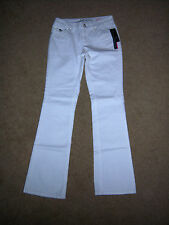 NWT TRENDY INC DESIGNER  WHITE REG BOOT CUT STYLE DISTRESSED WASH JEANS SIZE 4